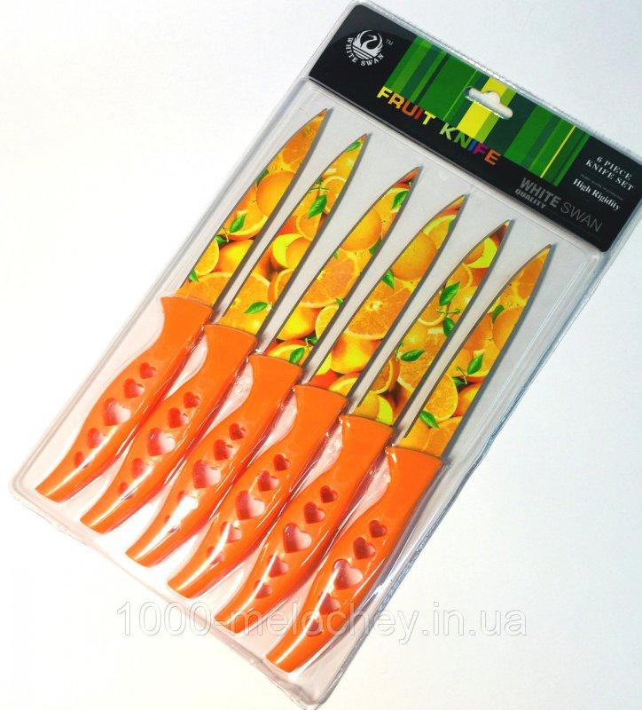 Набор кухонных ножей металлокерамика средние 6 штук в наборе Сердце (240mm)