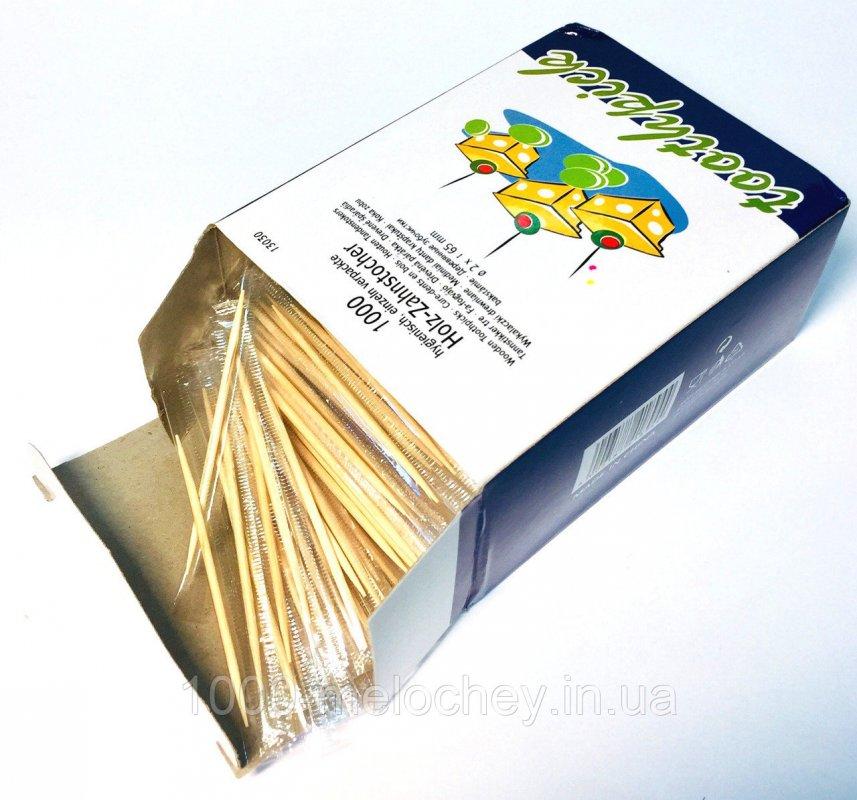 Зубочистки деревянные в индивидуальной целофановой упаковке 1000 штук