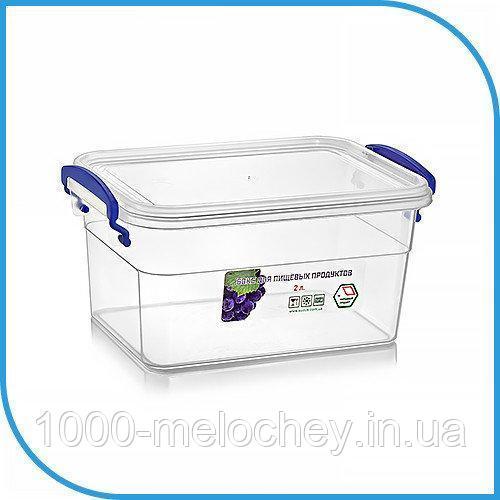 Пищевой пластиковый контейнер 2 л, бокс для еды