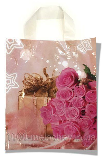 """Пакет с петлевой ручкой маленький ламинированный """"Розы"""" (23х29) 25 шт"""