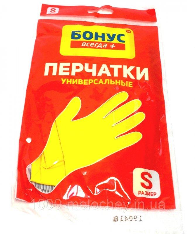Перчатки хозяйственные универсальные Бонус+, латексные, с хлопковым напылением (1пара/уп., размер S,M,L)