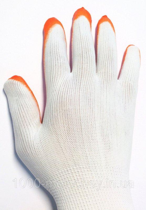 Перчатки рабочие стрейчевые (оранжевые с белым)