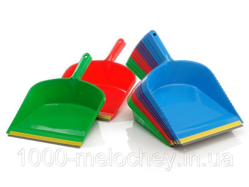Совок для мусора с резиновой кромкой, пластиковый