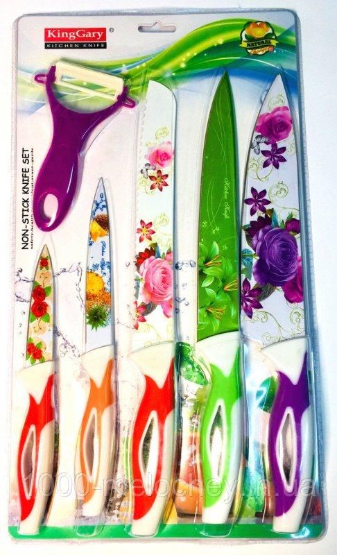Набор кухонных ножей металлокерамика 5 ножей + экономка King Gary (H=190, 230, 3*310mm)