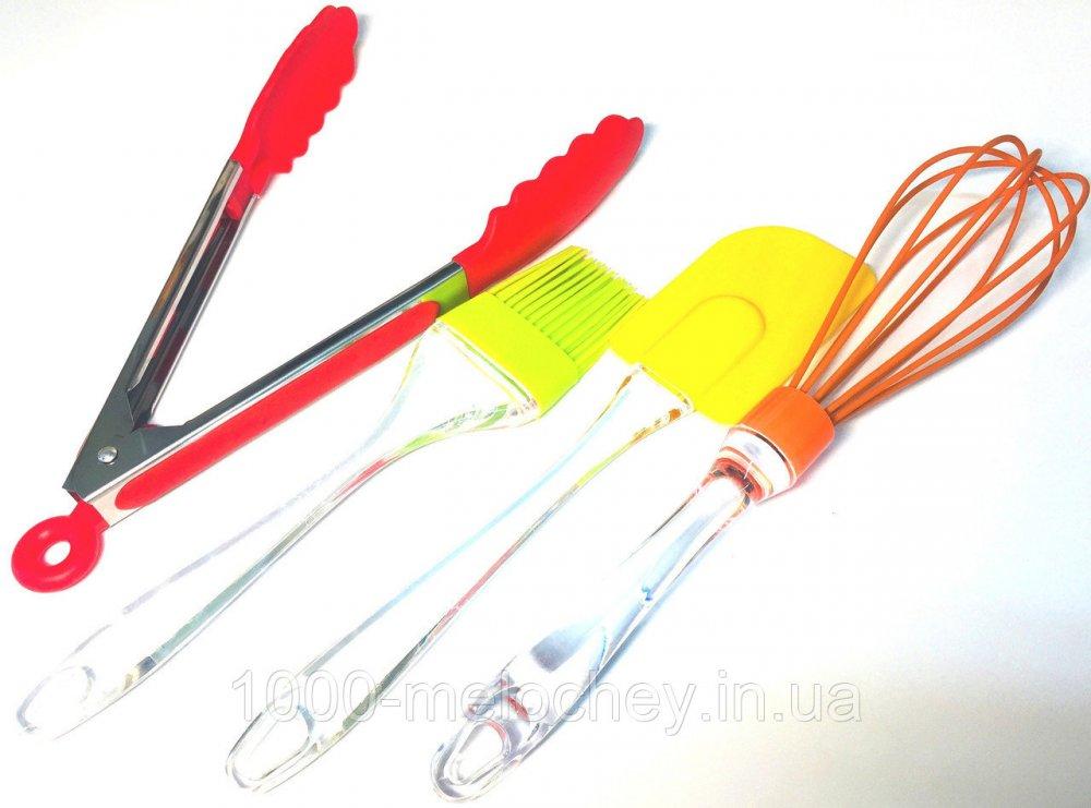 Набор кухонный Силикон 4 (лопатка, кисть, венчик, щипцы), силиконовый набор
