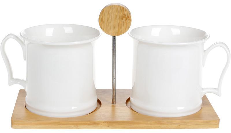 Купить Набор кружек Nouvelle Home 2 кружки Полосы 400мл на бамбуковой подставке
