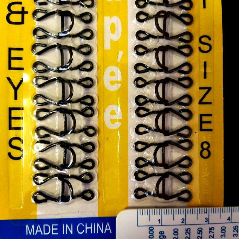 Купить №8 крючки, застежки для одежды Sindtex черные 24шт (653-Т-0696)