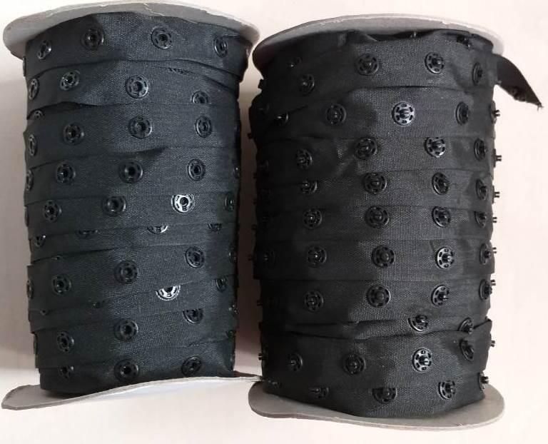 Лента (тесьма) с кнопками, черная 50 ярдов (46м) (653-Т-0222)