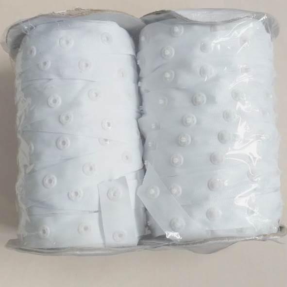 Лента (тесьма) с кнопками, белая 50 ярдов (46м) (653-Т-0223)