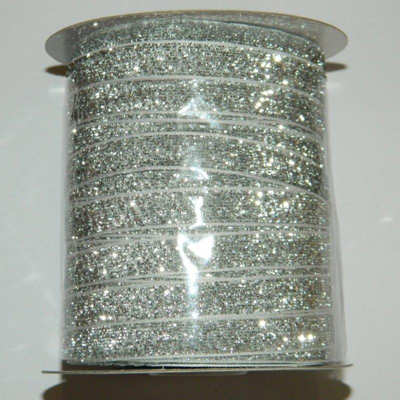 3 Бархатная люрексовая лента (1см.) моток 46м., серебро (657-Л-0116)