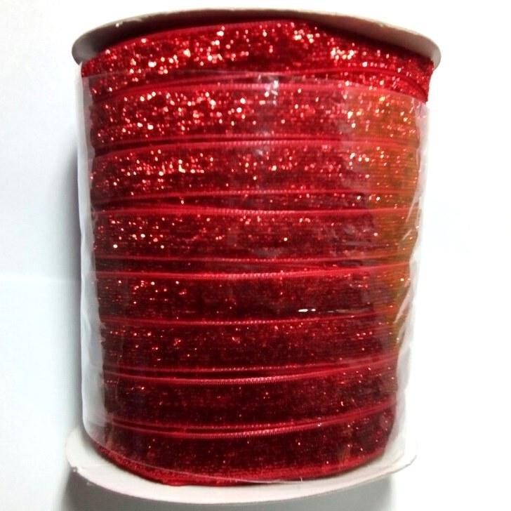 10 Бархатная лента с люрексом декоративная (1см.) моток 46м., красная (657-Л-0485)