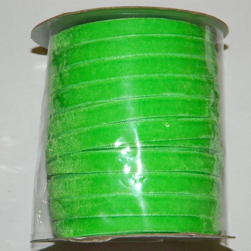 17 Бархатная лента декоративная (1см.) моток 46м., салатовая (657-Л-0112)
