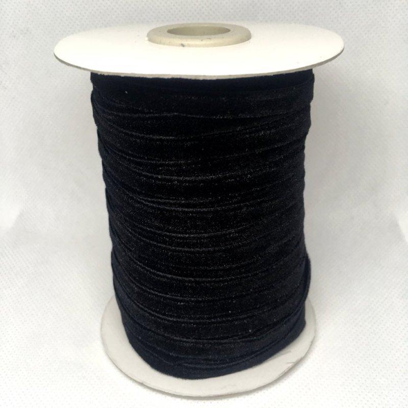 Бархатная лента декоративная (0,5см.) моток 46м., черная (657-Л-0621)