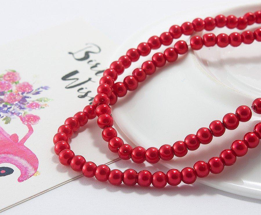 Купить Жемчуг стеклянный Ø4мм, упаковка 150 шт, цвет - Красный (сп7нг-1020)