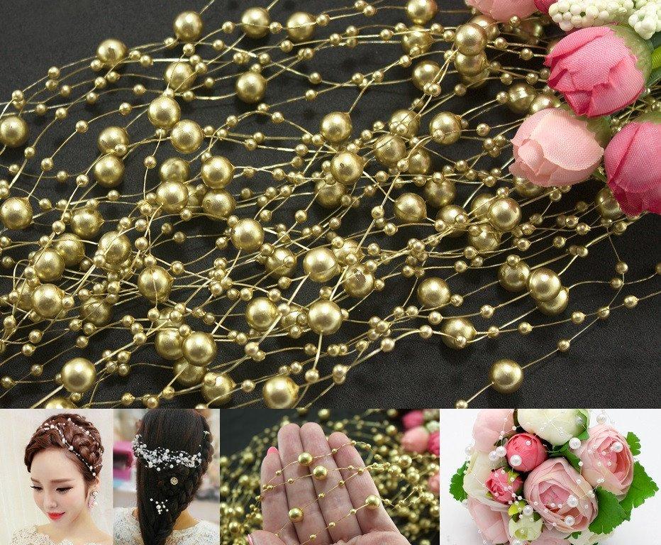Купить Намистини на волосіні 5шт по 1,3 метра Ø7 і Ø3мм, Золото (сп7нг-2237)