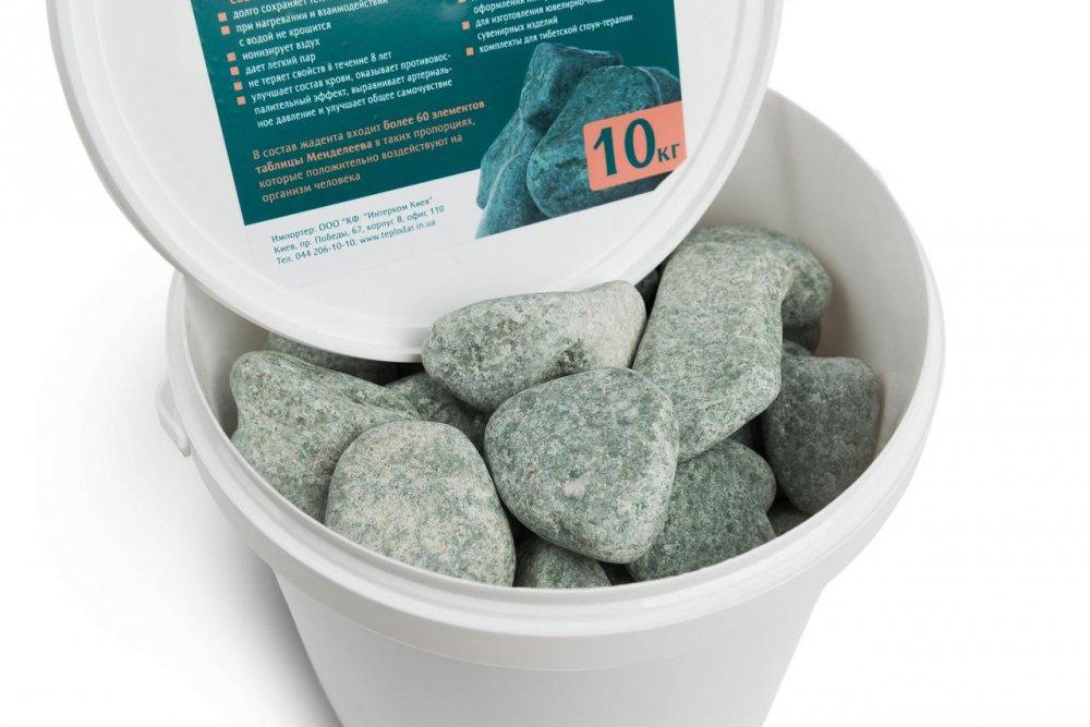 Купить Камень жадеит шлифованный средний (ведро 10 кг) для электрокаменки.