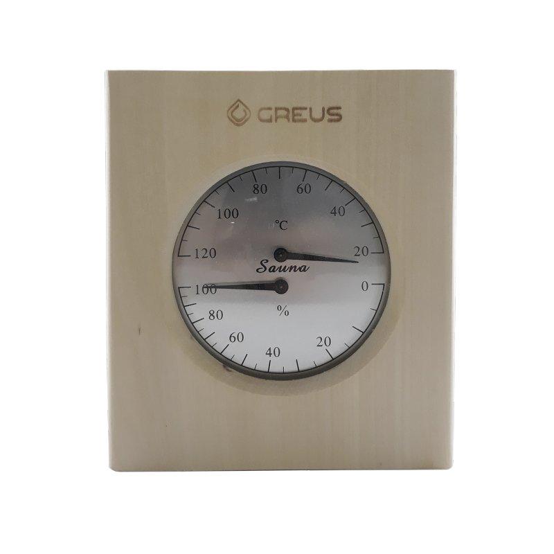 Термо-гигрометр Greus 16 х 14,5 липа для бани и сауны
