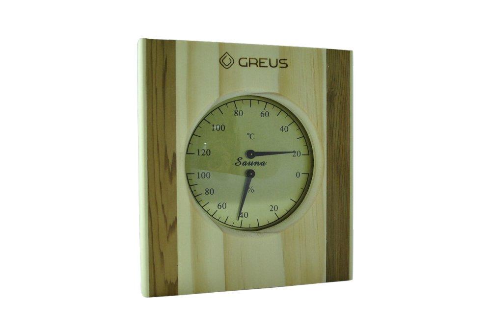 Термо-гигрометр Greus 16 х 14,5 сосна/кедр для бани и сауны