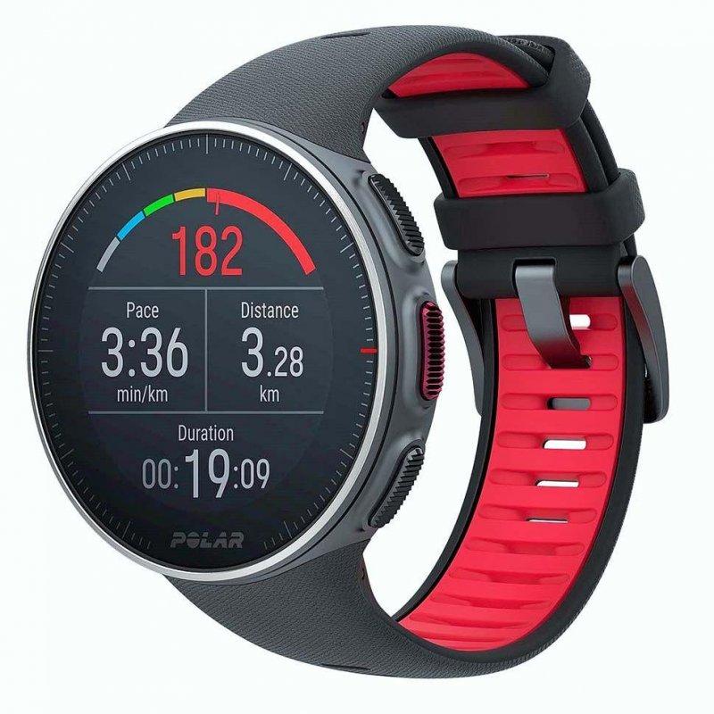Купить Мультиспортивные часы Polar Vantage V Titan р.M/L (PL-90072459), черный\красный