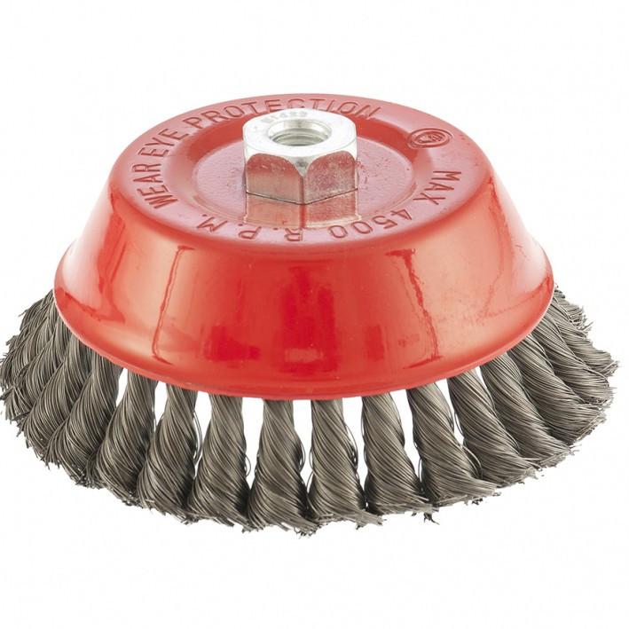 """Купить Щетка для УШМ, 150 мм, М14, """"чашка"""", витой провод 0,35 мм // MTX 746189"""