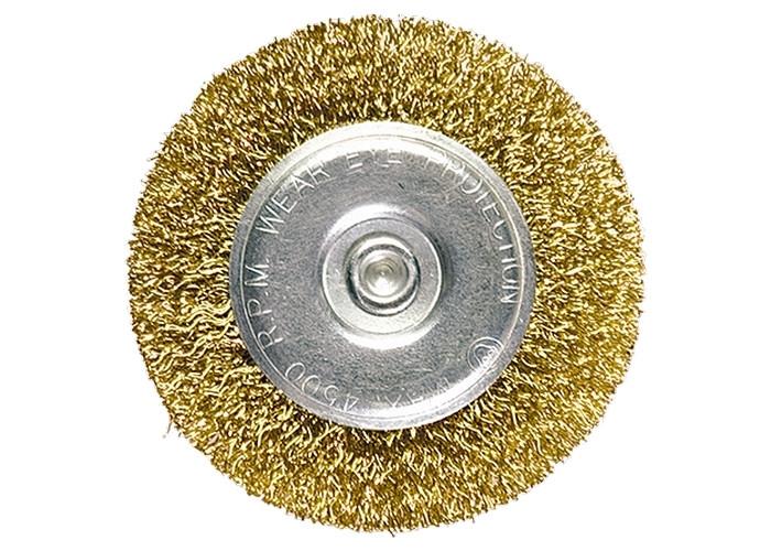 Купить Щетка для дрели 100 мм, плоская со шпилькой, латунь. витая проволока // MTX 744509