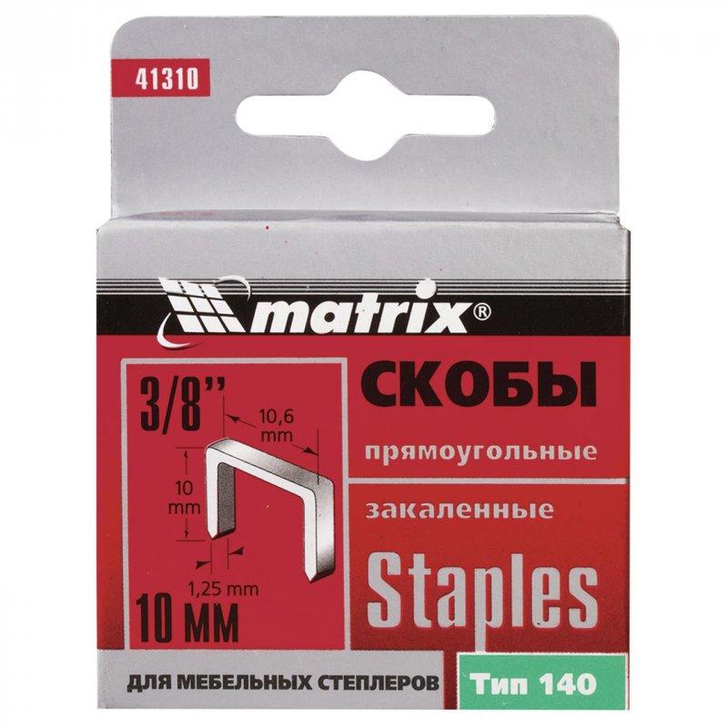 Купить Скобы, 10 мм, для мебельного степлера, закаленные, тип 140, 1000 шт .// MTX MASTER 413109