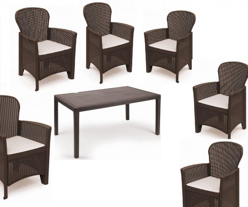 Купить Набор садовой мебели Prince 1 стол + кресло Folia 6 шт производство Италия цвет Коричневый и антрацит