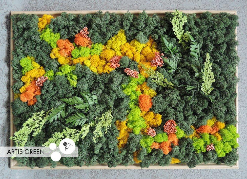 """Купить Картина """"Orange&Green Big"""" из стабилизированного мха и растений от """"Artis Green"""", P22"""