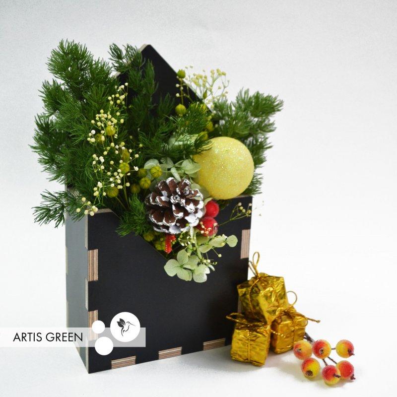 """Купить Подарок фито-конвертик ручной работы из стабилизированных растений """"Artis Green"""", S92"""