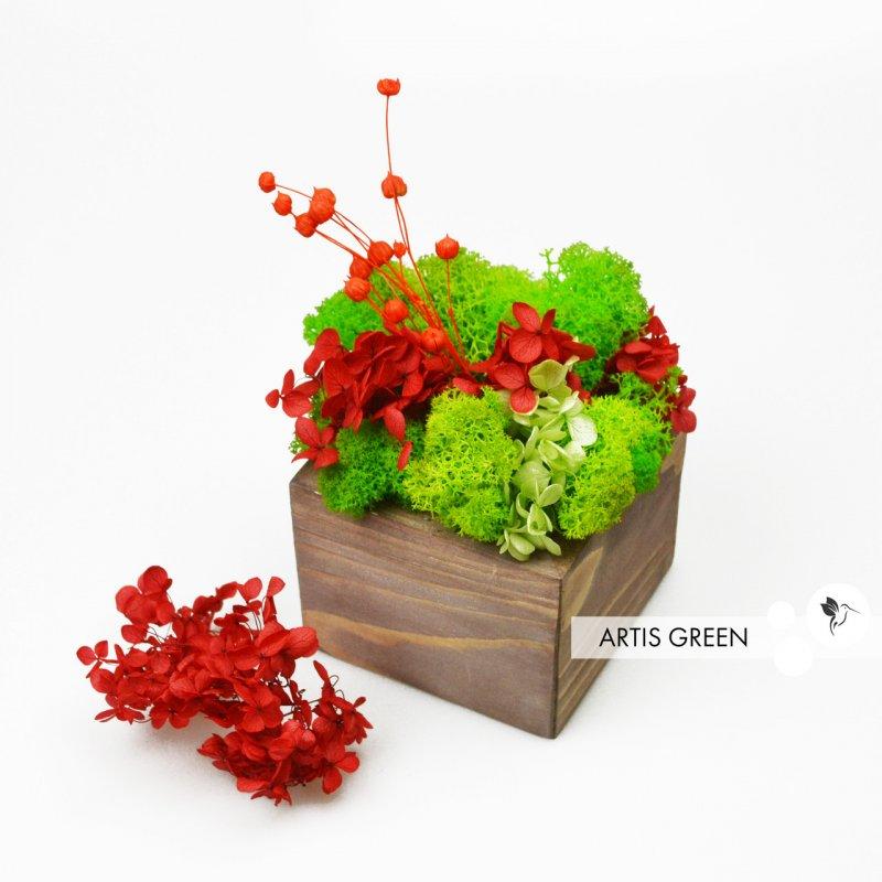 """Купить Горшок деревянный со мхом и растениями """"Гортензия"""", S105"""
