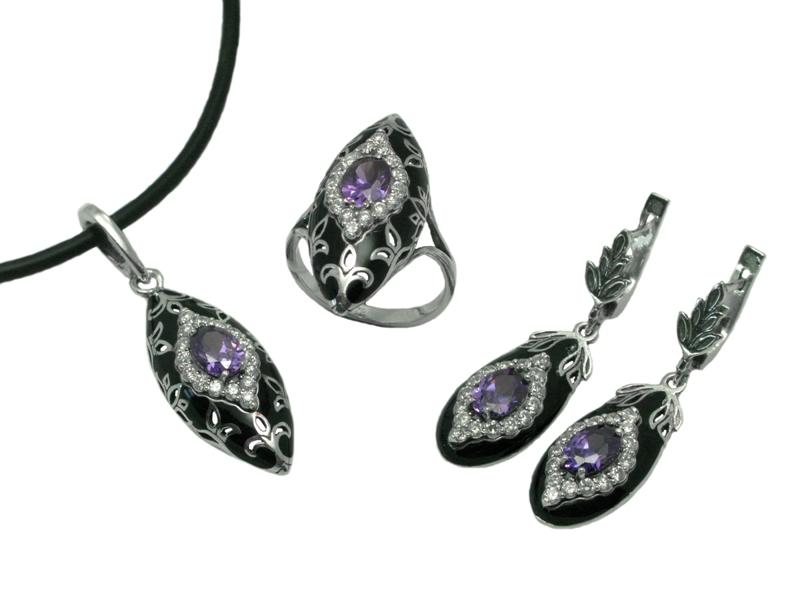 0df61fe28cbc Набор с эмалью, серебро Ag 925° пробы, серьги, кулон, кольцо, изделия  ювелирные из серебра, купить