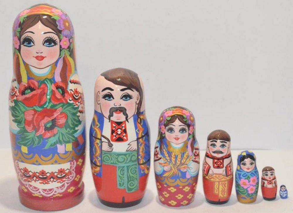 Украинская расписная матрёшка из 7-ми штук маленькая 705