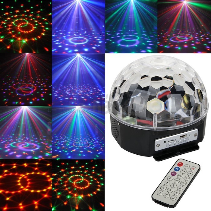 Светомузыка диско шар LED Ball Light с MP3 +пульт+флешка