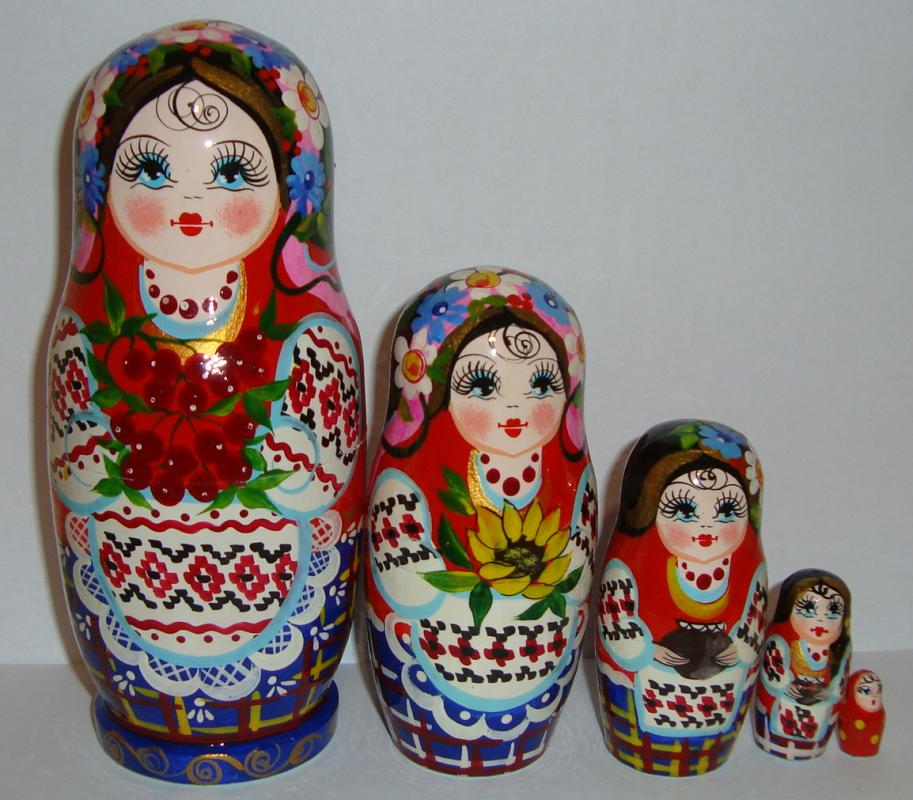Украинская расписная матрёшка из 5-ти штук большая 502
