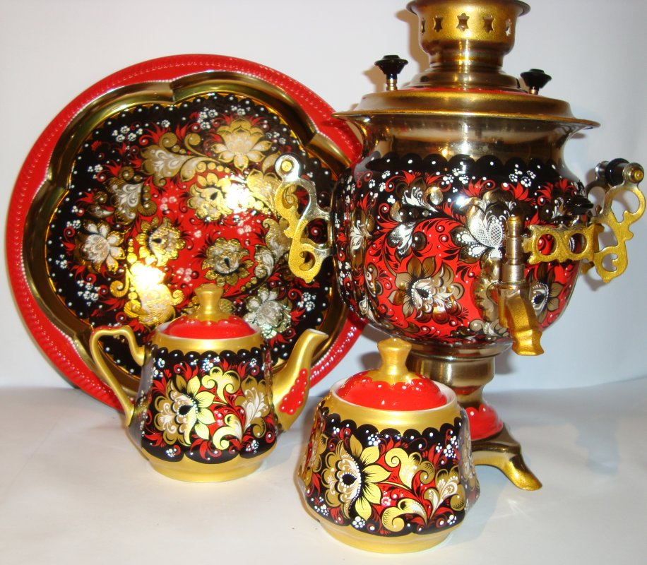 """Комплект чайный из 4-х предметов, № 17, """"Красное - чёрное"""" кудрина"""