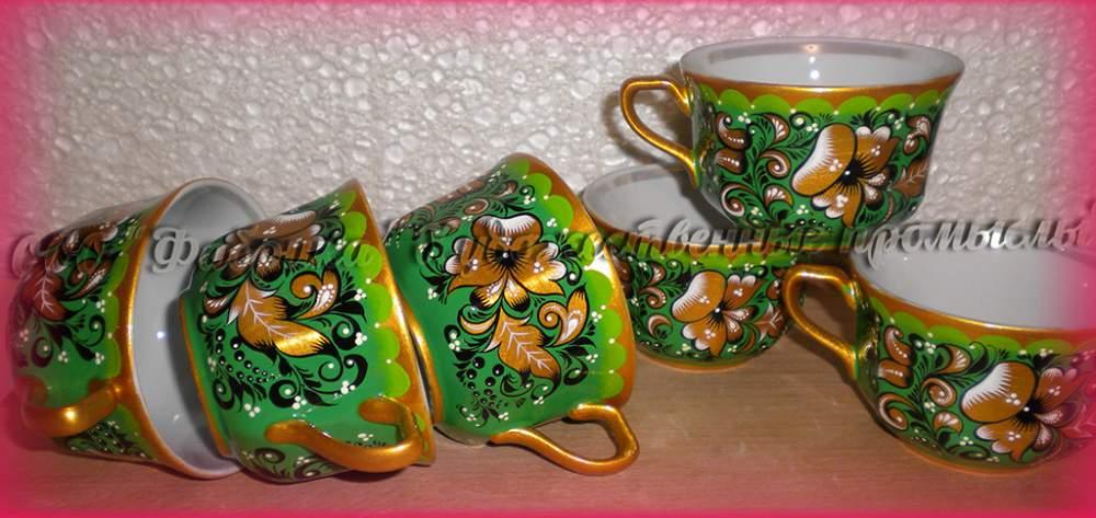 Купить Чашки с росписью сувенирные.