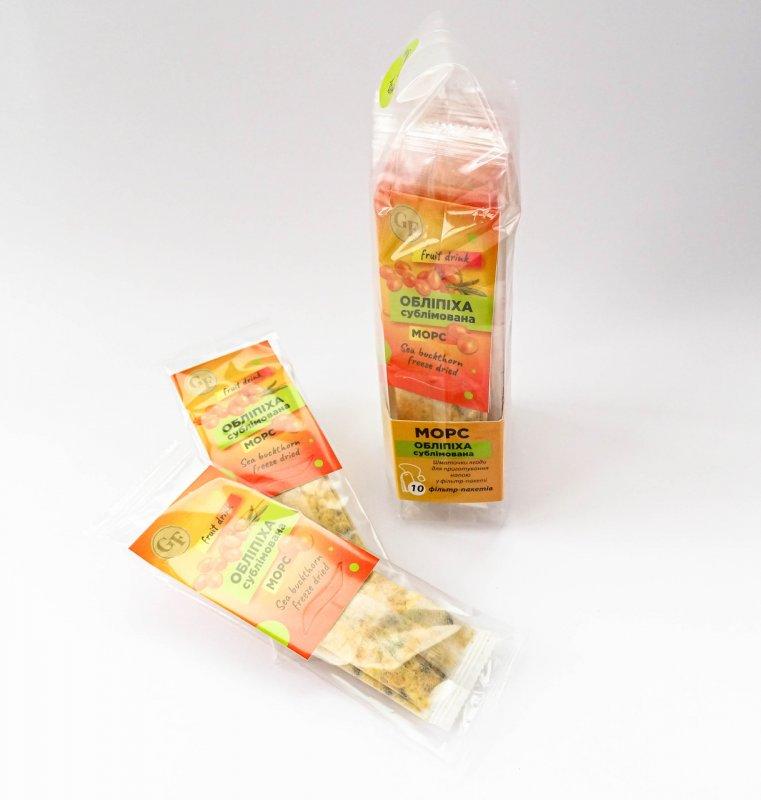 Купить Облепиховый морс (сублимированная облепиха) напиток, чай из натуральной ягоды по 10 фильтр-пакетов в упаковке