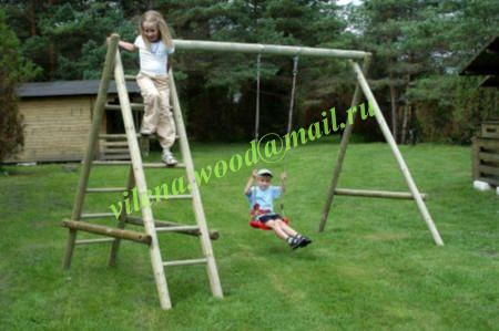 """Купить Качеля деревянная для детей, одинарная с двумя лестницами, """"Хелен-1"""", АРТ ВЛН 3007"""