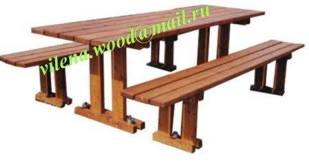 """Купить Стол деревянный дачный для пикника со скамейками в комплекте, цвет тик, """"Прага"""""""