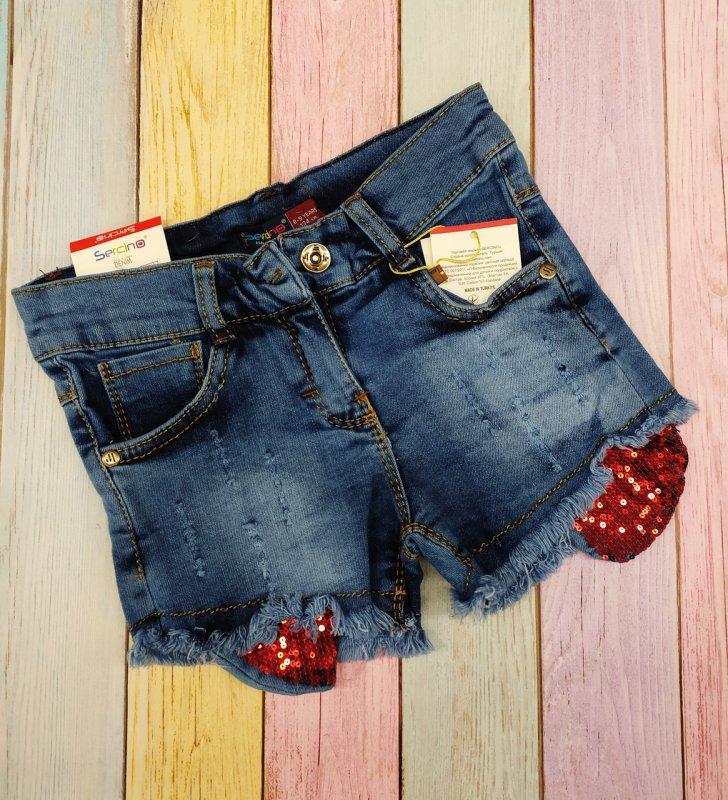 Купить Шорты джинсовые для девочек,рванка р 134-140-146-152