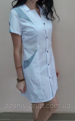 Купить Женский медицинский халат Эрика с коротким рукавом
