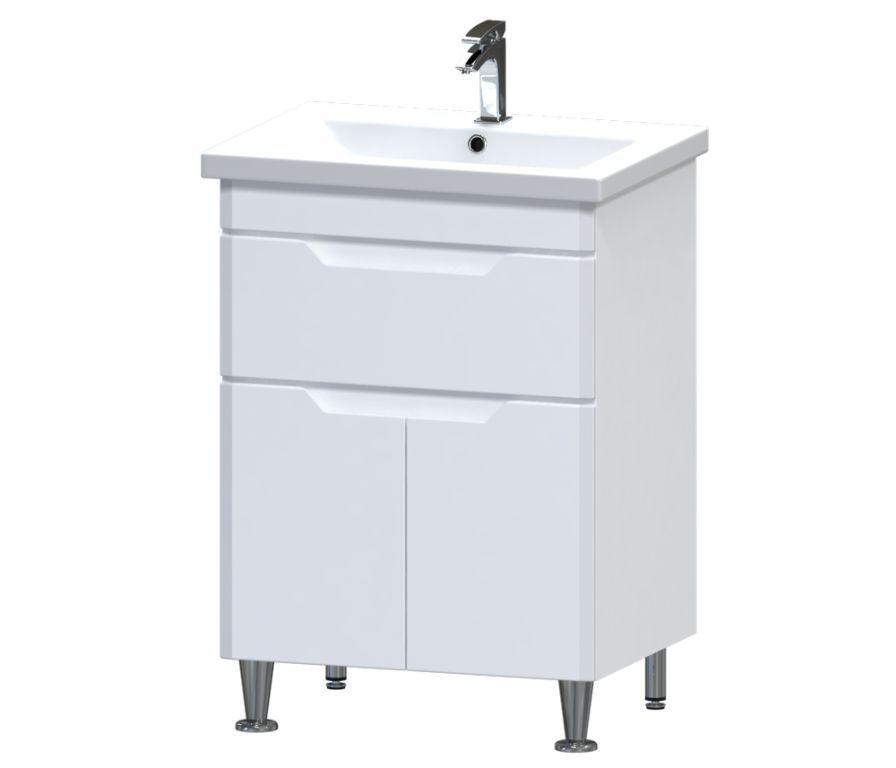 Купить Тумба Aquarius Лион напольная с ящиком и умывальником Комо 60 09008 белая (59204)