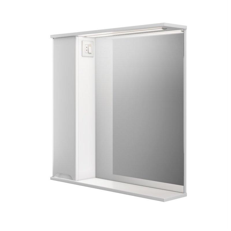 Купить Шкаф подвесной левый с зеркалом Respect-M Prime Prmc-80 L с LED подсветкой белый (39395)