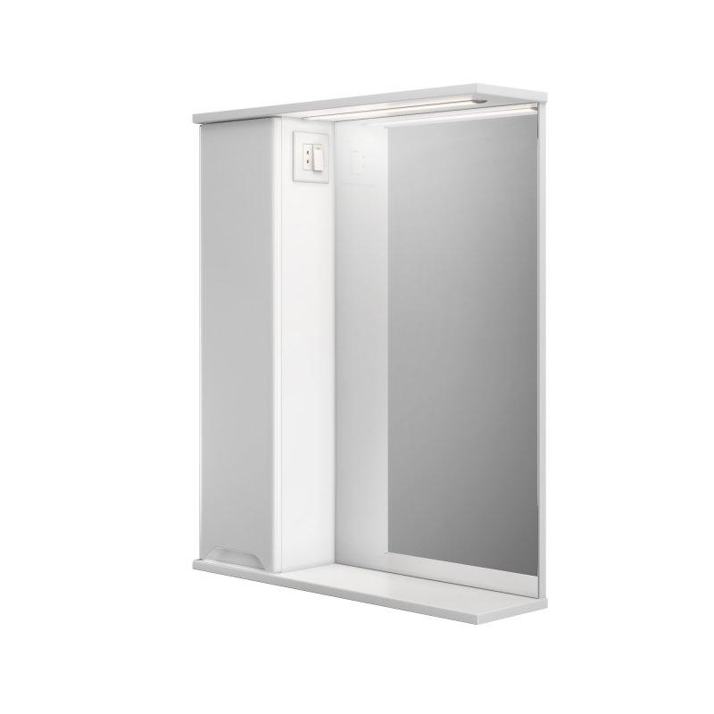 Купить Шкаф подвесной левый с зеркалом Respect-M Prime Prmc-65 L с LED подсветкой белый (39389)