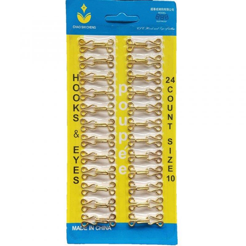 Купить №10 крючки, застежки для одежды Sindtex золотые 24шт (653-Т-0728)