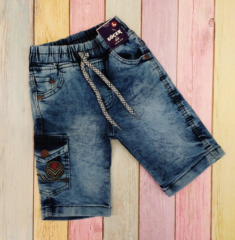 Купить Шорты джинсовые с накладным карманом для мальчиков р 98-110-116-122