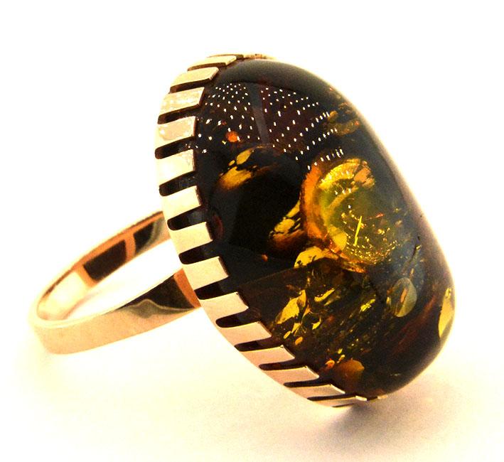 """Купити Артикул """"Містика"""", Сережки + Кільце із золота 585 проби, вставка - бурштин натуральний"""