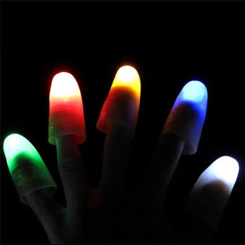 Купить Волшебный палец с разноцветный светодиодный наконечник свет Иллюзия мягкий стандартный размер 2 шт комплект 1