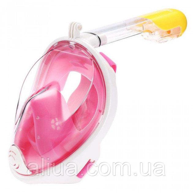Купить Полнолицевая панорамная маска для плавания Seagard Easybreath (L/XL) Розовая с креплением для камеры /