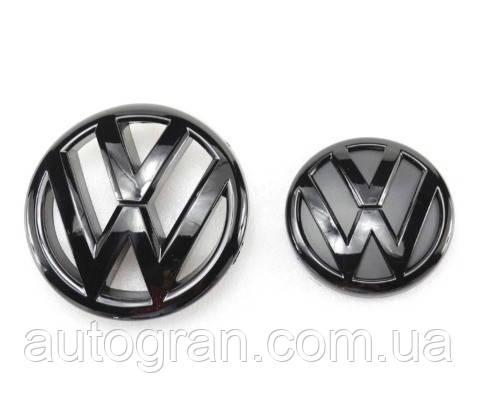 Купить Комплект эмблем решетки и багажника Volkswagen Jetta 2011-2015 чёрные глянцевые